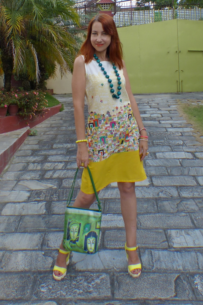 60s style dress, large beads, wedges and ethnic bag