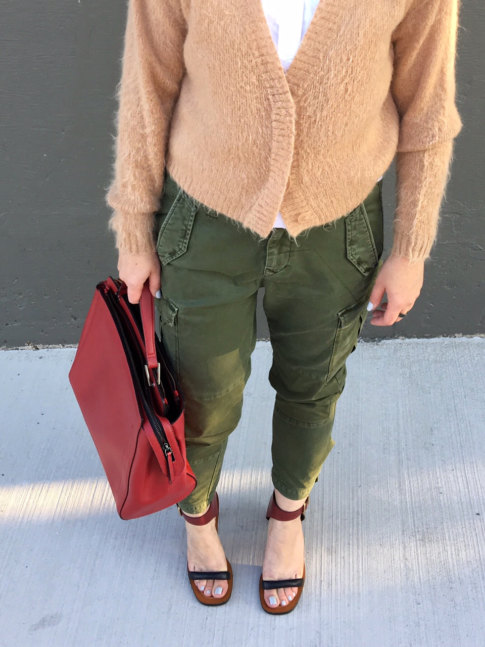 Fuzzy cardigan & cargo pants in army green