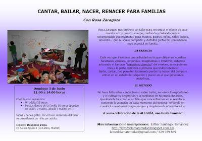 Rosa Zaragoza de nuevo en Madrid. Talleres para familias, mujeres y mamás y bebés. 3 y 4 de junio