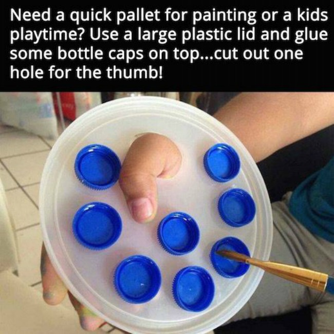 Bottle cap art painting pallet.  DIY bottle top craft ideas for kids.