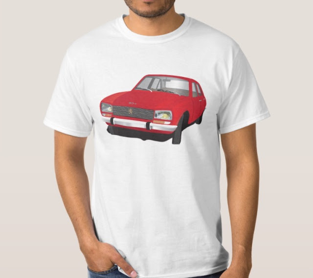 Red Peugeot 504 t-shirt owner