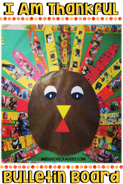 Thanksgiving Bulletin Board idea. I Am Thankful turkey represents all of the things students are thankful for. Decorated feathers show off their families, interests and more. Step by step directions