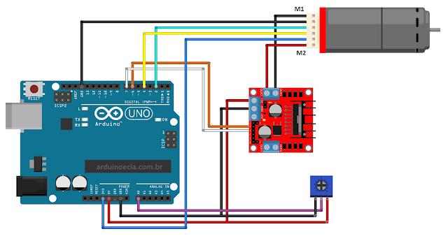 Circuito Arduino Uno Motor DC com Encoder e Ponte H L298N