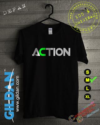 Baju Kaos DISTRO Desain ACTION Warna Hitam