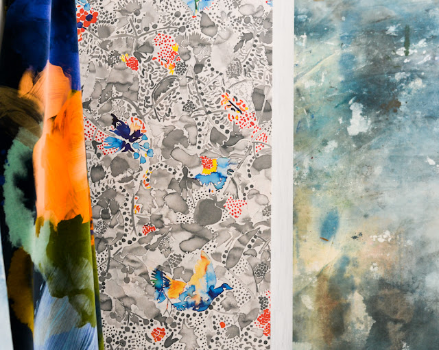 Painterly wallpaper designs by Feathr at Decorex during London Design Festival 2016 #LDF16