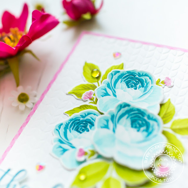 Sunny Studio Stamps: Everything's Rosy Everyday Greetings Thank You Card by Mona Toth