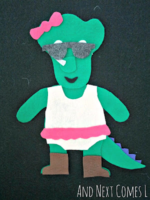 Dinosaur dress up felt board activity for kids from And Next Comes L