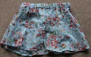 Finished toddler skirt made from an old blouse