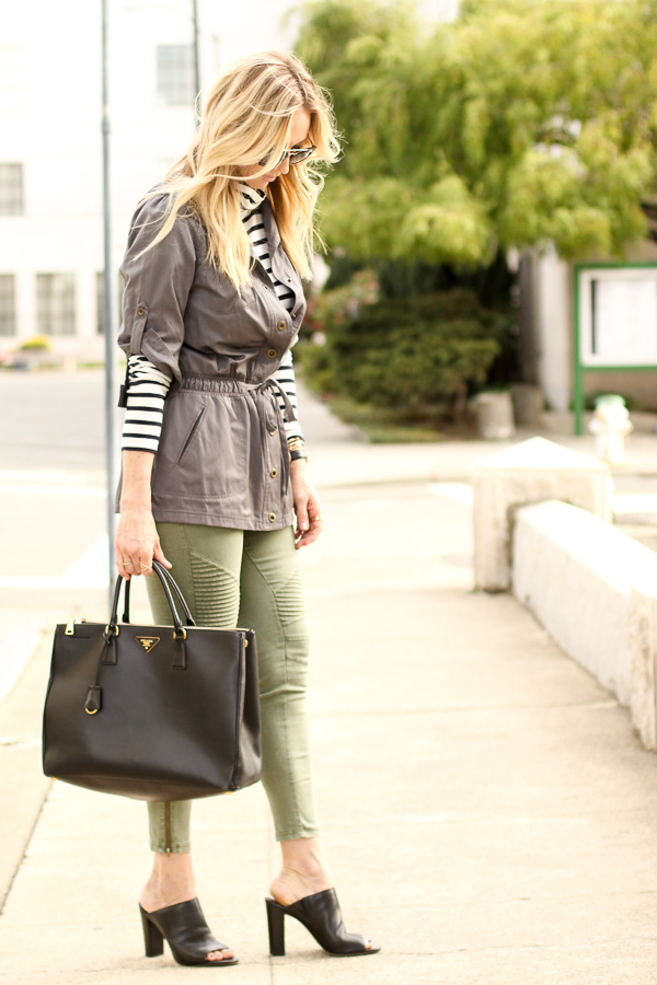 striped turtleneck layers with utility jacket and skinny jeans