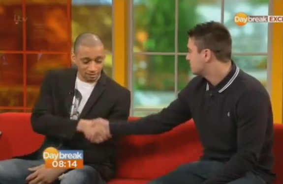 Curtis Woodhouse and Twitter troll James O'Brien shake hands on ITV's Daybreak