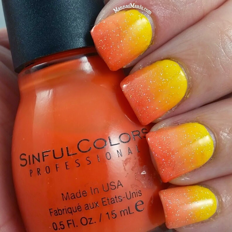 orange and yellow gradient nail art