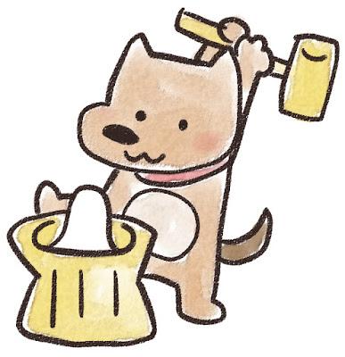 餅つきをする犬のイラスト(戌年)