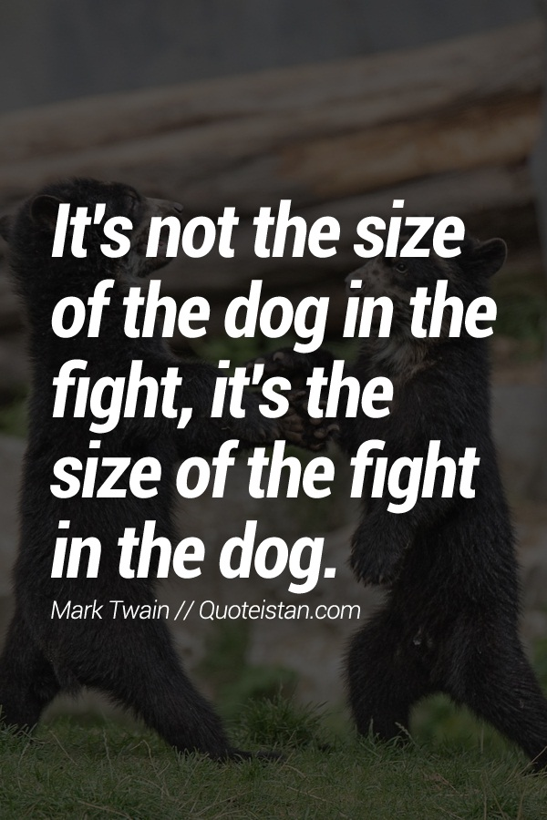 Its Not The Size Of The Dog In The Fight Its The Size Of The Fight