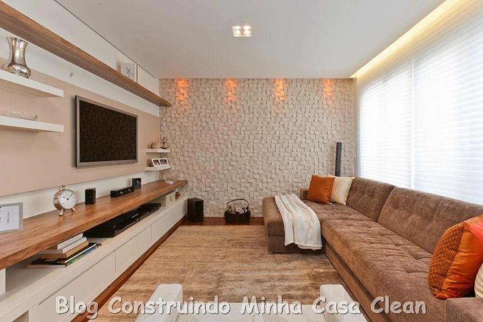 construindo minha casa clean home theater 20 projetos de salas de tv modernas. Black Bedroom Furniture Sets. Home Design Ideas