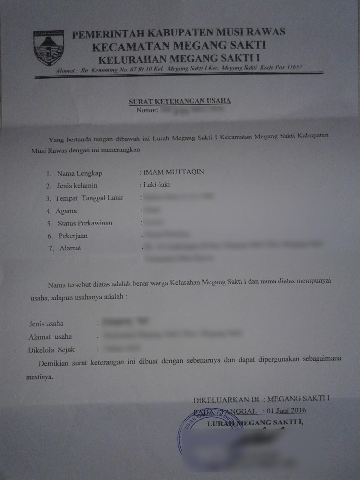 Contoh Surat Keterangan Usaha Untuk Kur Bri - Nusagates