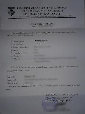 Contoh Surat Keterangan Usaha dari Kelurahan/ Kades