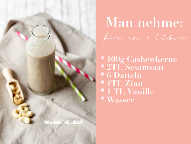 Cashew Sesam Milch mit Zimt und Vanille