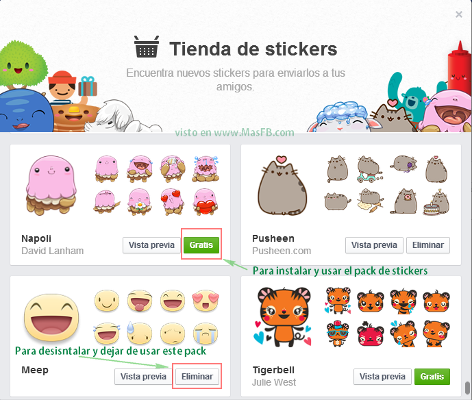 Agregar o Eliminar packs de Stickers de Facebook - MasFB