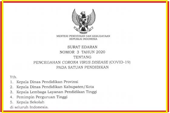 gambar surat edaran mendikbud nomor 3 tahun 2020
