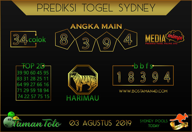 Prediksi Togel SYDNEY TAMAN TOTO 03 AGUSTUS 2019