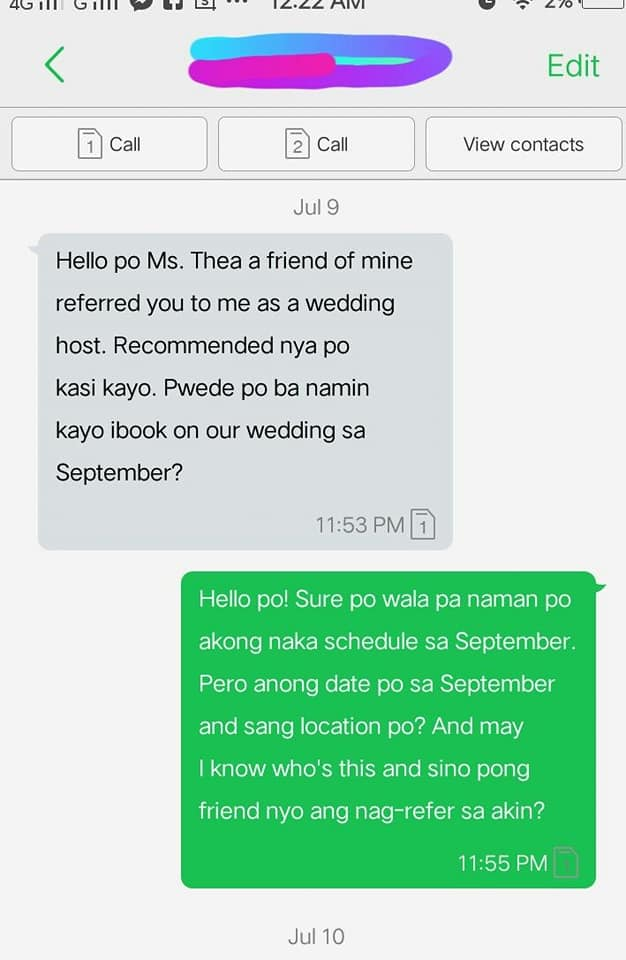 Bride refuses to pay for party host's TF and accommodation in Batangas wedding