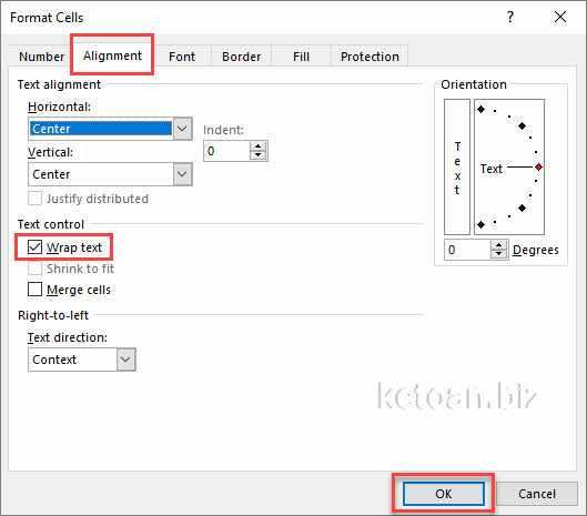 Canh đều, ngắt dòng trong Excel như thế nào?
