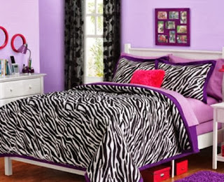 Black & White Teen Girls Zebra Twin Comforter & Pillow Sham