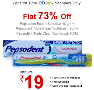 Ebay Deal- Pepsodent Expert Sensitive 40 gm + 2 Triple Clean Toothbrushes for Rs.19 Only