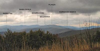 Panorama z Jasła na południowy wschód.
