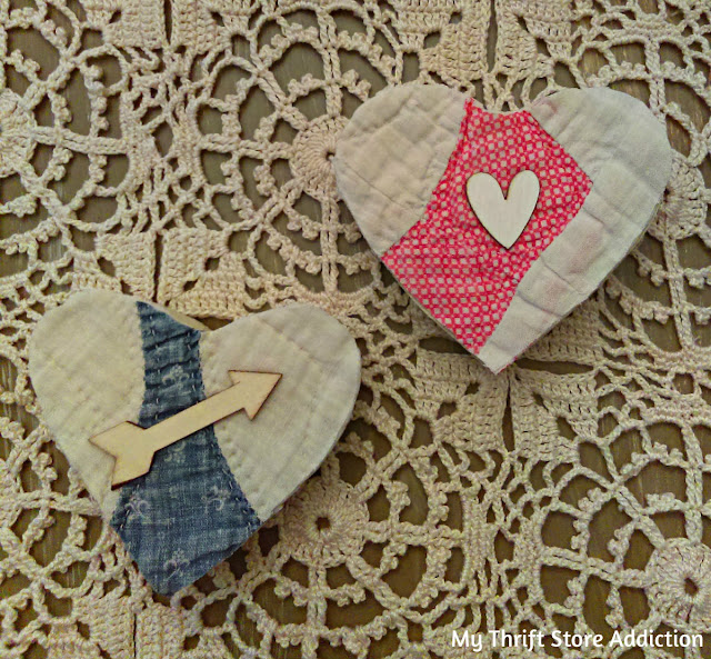 Upcycled vintage quilt valentines