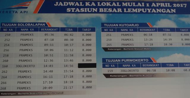 Jadwal Kereta Prameks Dari Stasiun Lempuyangan