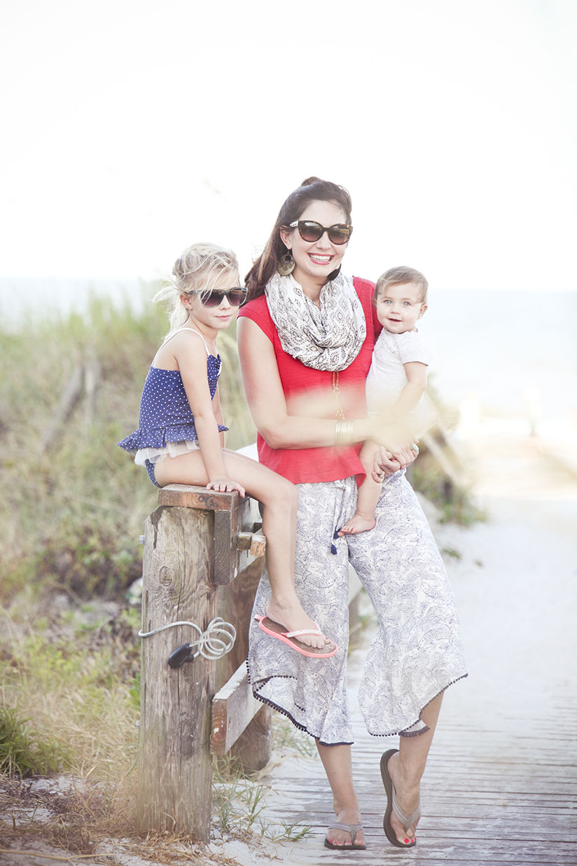 Amy West and kids at the beach