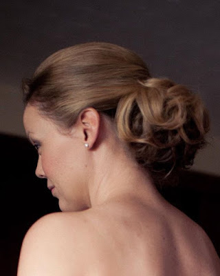 Textured Wedding hair. Bun viewed from the back