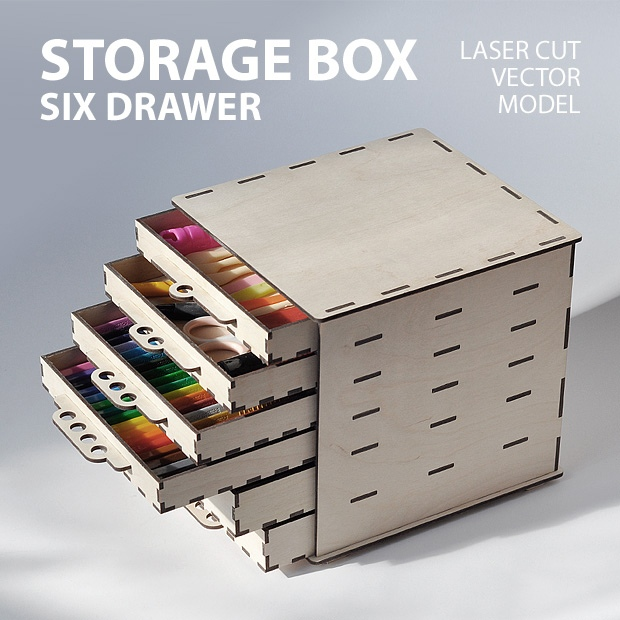 Storage box with drawers comes in corel draw cdr file format