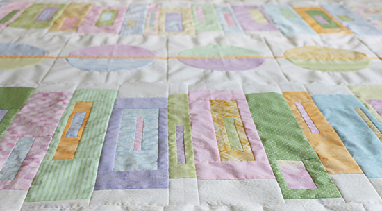 View of Modern Quilt Top in Pastel Colors