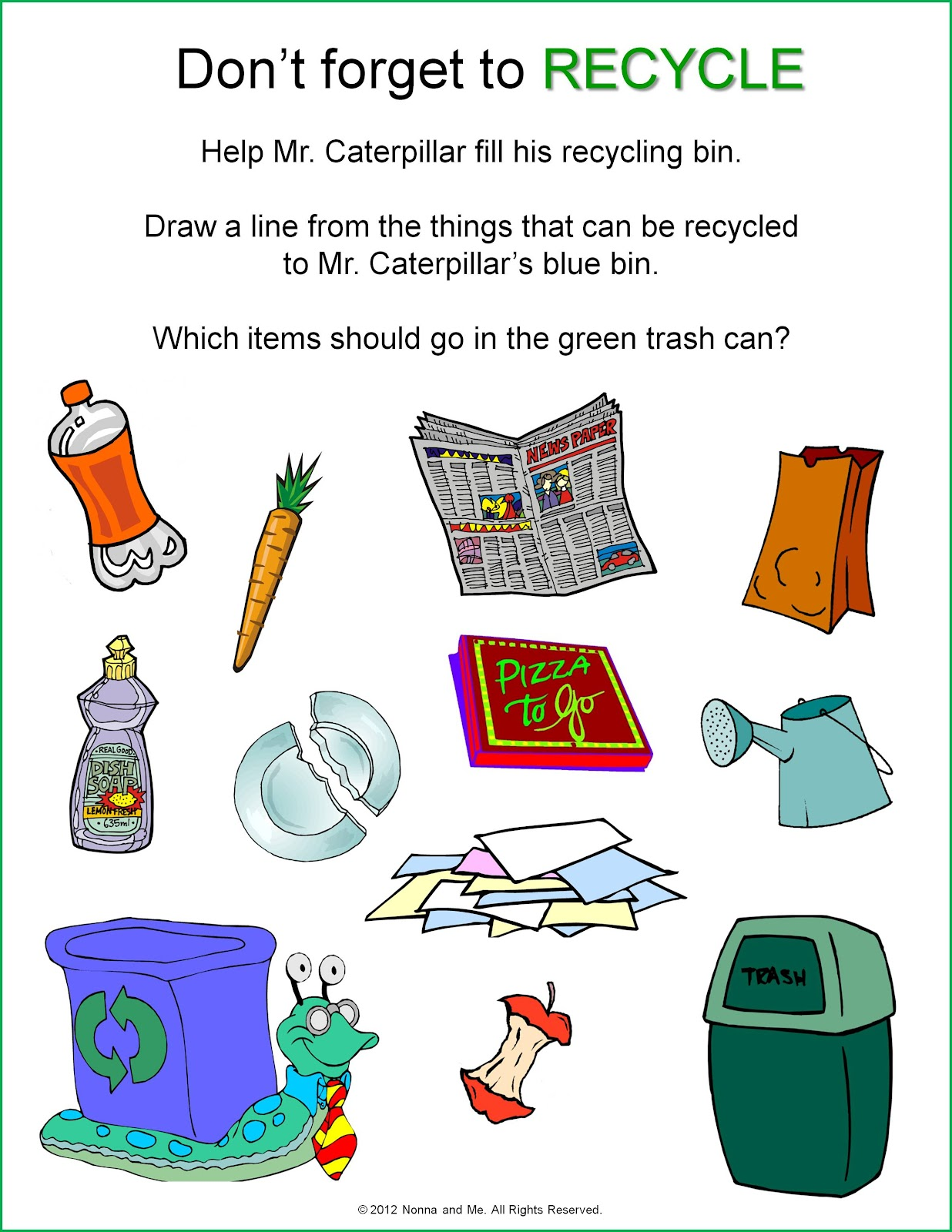 Recycling Worksheets For 3rd Grade : Recycling sorting worksheets for kindergarten english