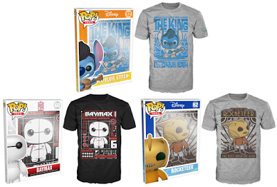 Disney Movie Pop! Tees T-Shirts by Funko - Lilo and Stitch's Elvis Stitch, Big Hero 6's Baymax and The Rocketeer