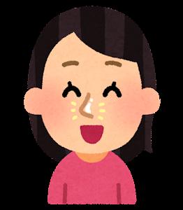 毛穴パックを使う人のイラスト(つるつる)