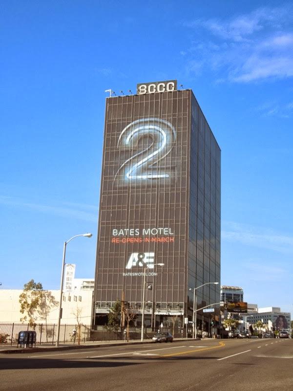 Giant Bates Motel season 2 billboard Sunset Strip
