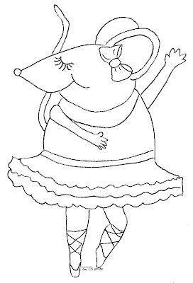 Ballerina Mouse, Free Crudoodle Digital Stamp by Tori Beveridge