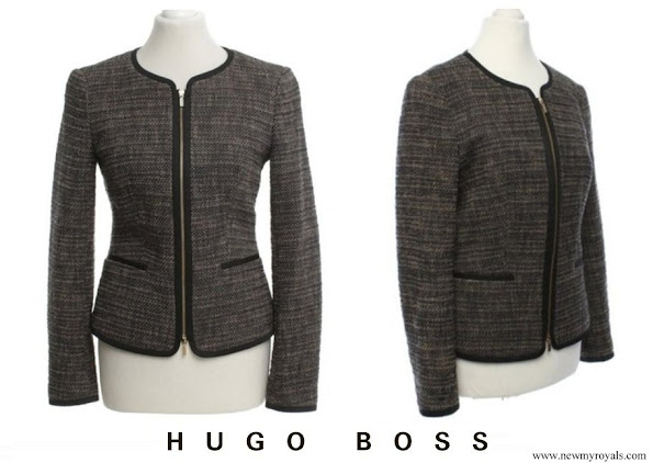 Queen Letizia wore Hugo Boss Koralena tweed boucle blazer jacket in black charcoal grey