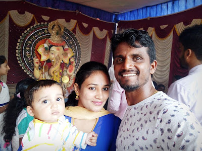 Kirik Keerthi with his wife and son
