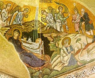 Χριστός γεννάται, δοξάσατε, Χριστός εξ ουρανών, απαντήσατε, Χριστός επί γης, υψώθηκε...