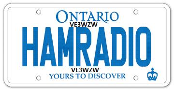 """VE3WZW Personalized licence plates """"HAMRADIO"""""""