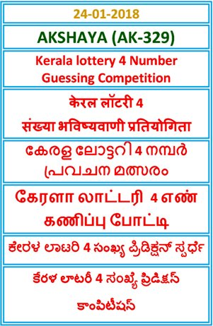 Kerala lottery 4 Number Guessing Competition AKSHAYA AK-329