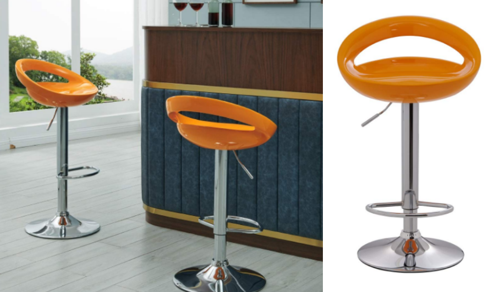 Crescent Bar Stool WY.147 with ABS Plastic Seat Set of 2 Duhome Bar Chair (Orange)