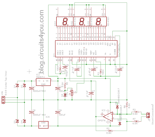 ICL7107 Ammeter Circuit Diagram