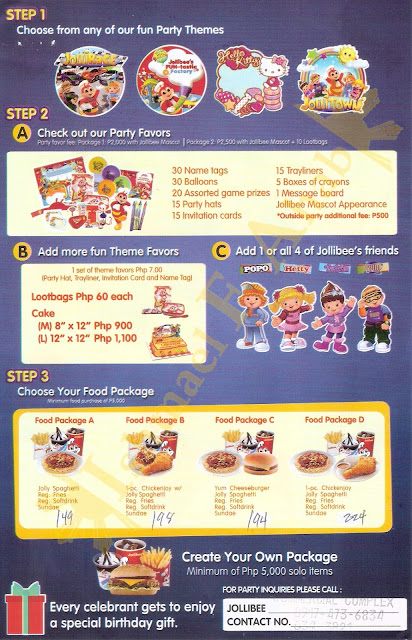 Jollibee birthday party package brochure 2017