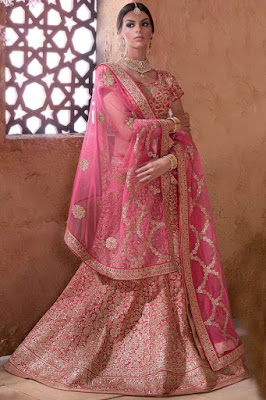 Beautiful Indian Model Girl In Pink Color Banarasi Silk Lehenga Choli.