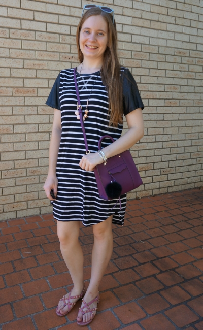 All About Eve striped black tee dress with contrast sleeves purple mini MAB crossbody bag | awayfromblue